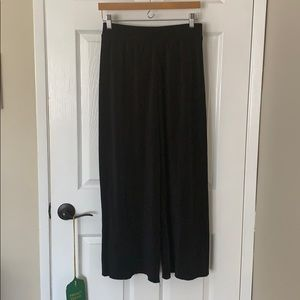 TOPSHOP Wide Leg Plisse Trousers Black